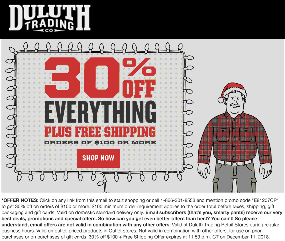 Duluth Trading Co Coupon May 2019 30% off everything at Duluth Trading Co, or online via promo code E81207CP