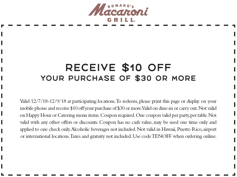 Macaroni Grill Coupon January 2019 $10 off $30 at Macaroni Grill restaurants