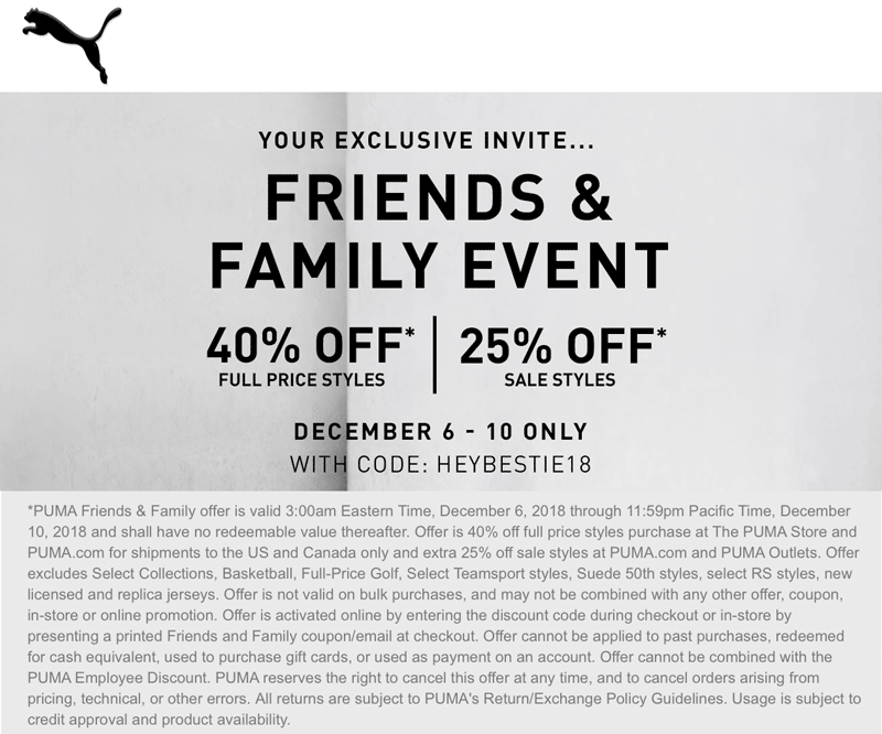 Puma.com Promo Coupon 40% off at Puma, or online via promo code HEYBESTIE18