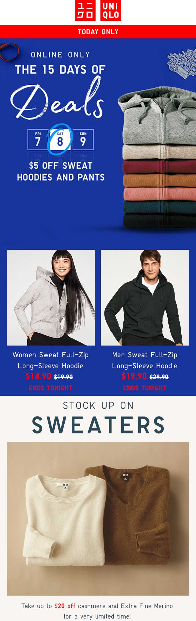 Uniqlo Coupon July 2019 $5 off sweats, $20 off wool sweaters today at Uniqlo, ditto online