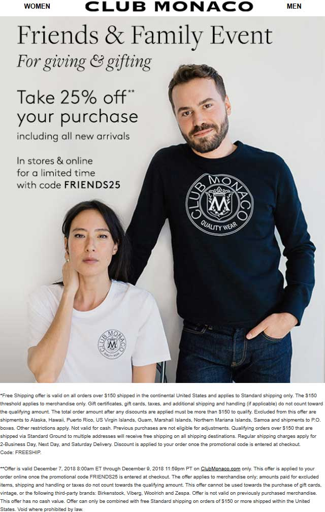 Club Monaco Coupon August 2019 25% off at Club Monaco, or online via promo code FRIENDS25