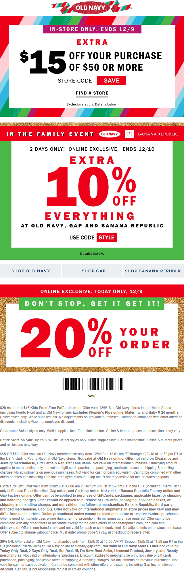 OldNavy.com Promo Coupon $15 off $50 & more today at Old Navy, or 20% online no code needed