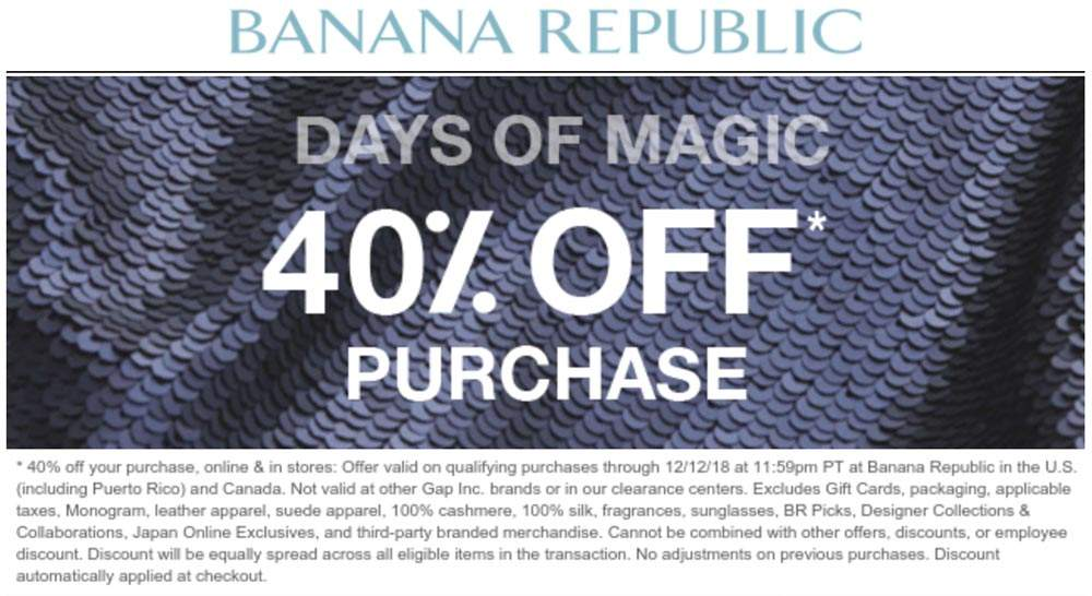 Banana Republic Coupon July 2019 40% off at Banana Republic, also online + 10% via promo code STYLE
