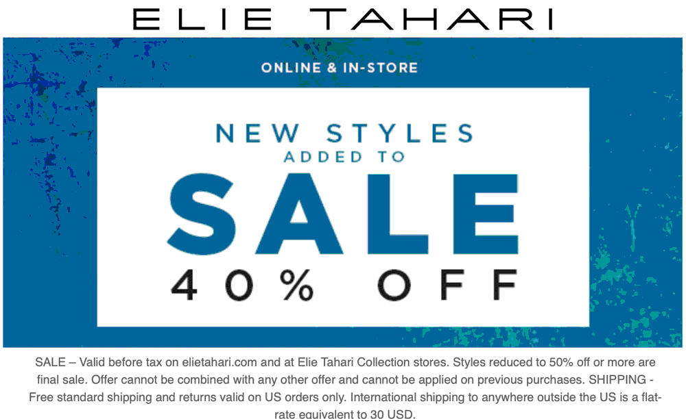 Elie Tahari Coupon January 2020 40% off at Elie Tahari, ditto online