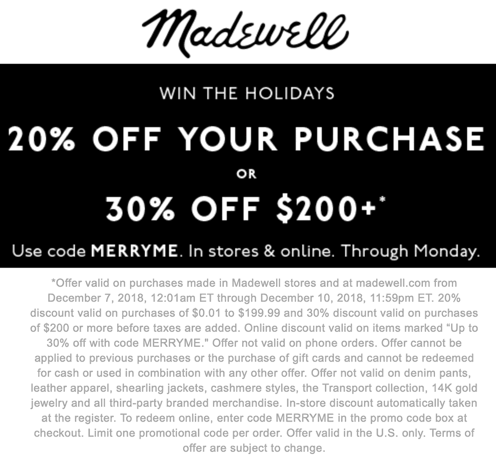 Madewell Coupon October 2019 20-30% off today at Madewell, or online via promo code MERRYME