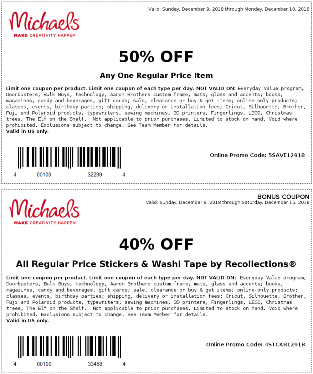 Michaels.com Promo Coupon 50% off a single item today at Michaels, or online via promo code 5SAVE12918