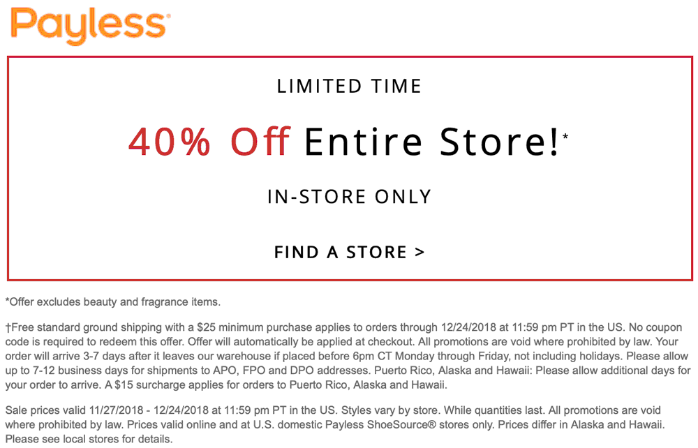 Payless Shoesource Coupon January 2019 40% off at Payless Shoesource