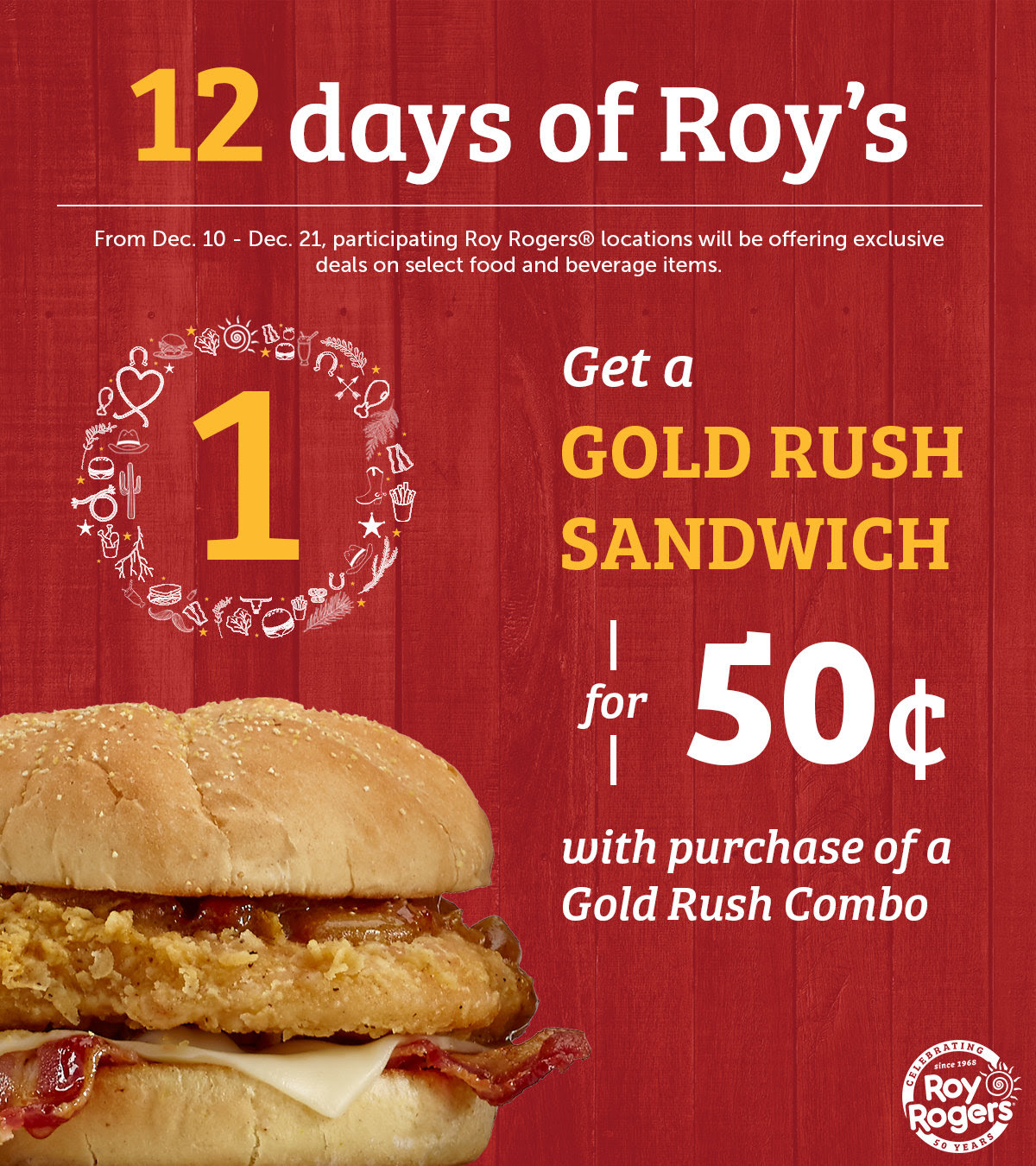 Roy Rogers Coupon November 2019 .50 cent chicken sandwich with your combo meal today at Roy Rogers