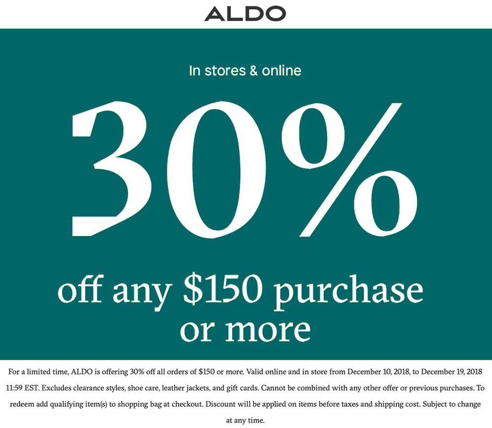 Aldo Coupon November 2019 30% off $150 at ALDO, ditto online