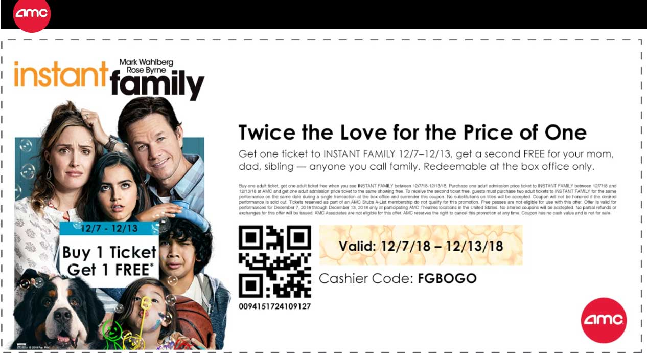 AMC Coupon November 2019 Second movie ticket to Instant Family free at AMC