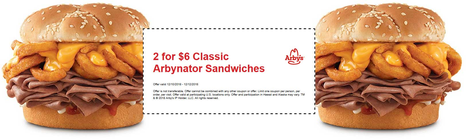 Arbys Coupon December 2019 2 Arbynator sandwiches for $6 at Arbys