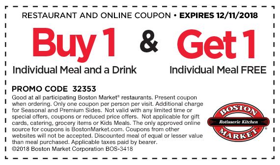 Boston Market Coupon June 2019 Second meal free today at Boston Market