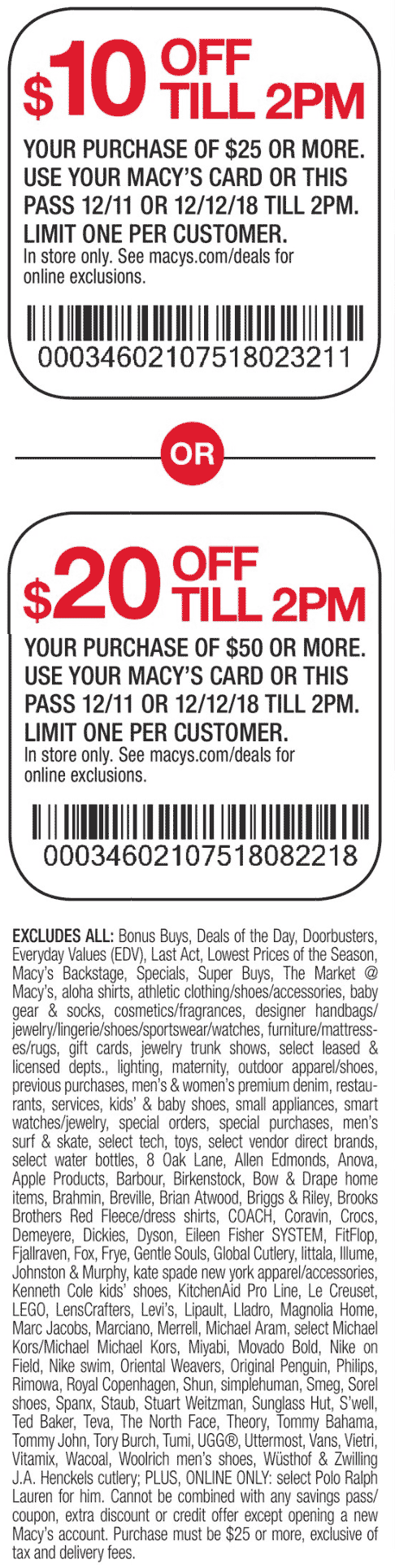 Macys Coupon August 2019 $10 off $25 & more til 2pm at Macys