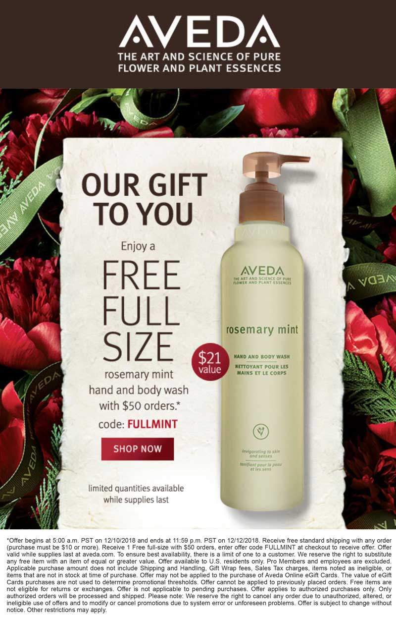 Aveda Coupon December 2019 Free full size body wash with $50 spent today online at Aveda via promo code FULLMINT