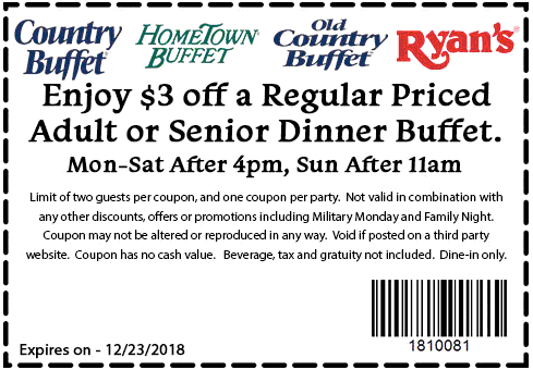 Hometown Buffet Coupon November 2019 $3 off dinner at Ryans, HomeTown Buffet & Old Country Buffet