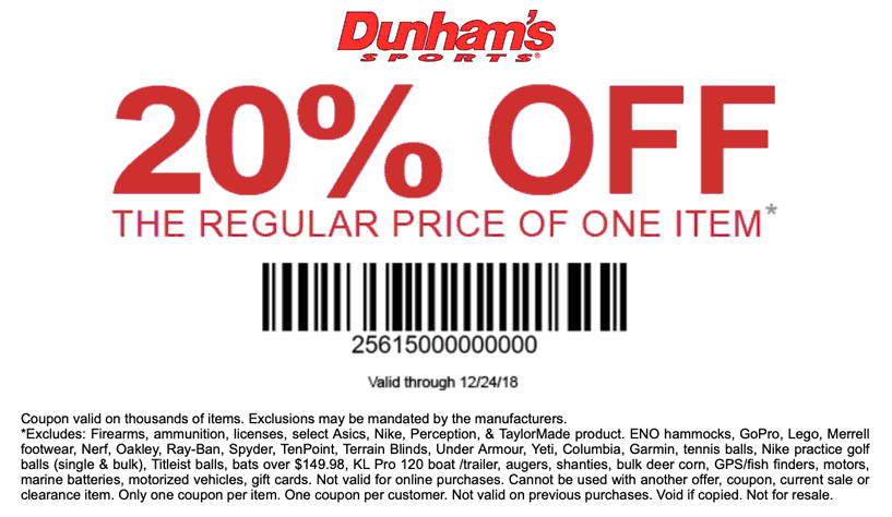 Dunhams Sports Coupon August 2019 20% off a single item at Dunhams Sports