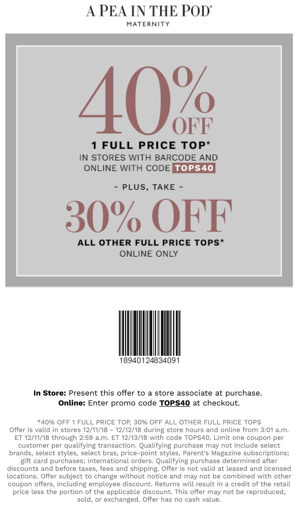 A Pea in the Pod Coupon April 2019 40% off a single top today at A Pea in the Pod maternity, or online via promo code TOPS40