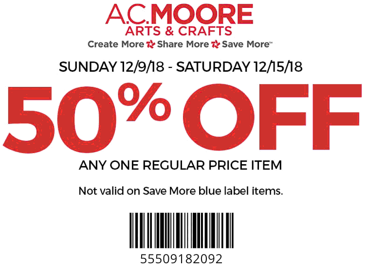 A.C. Moore Coupon September 2019 50% off a single item at A.C. Moore