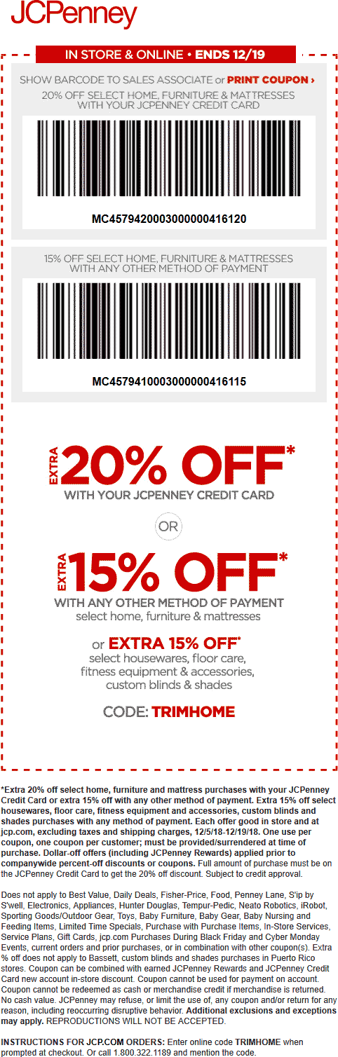JCPenney Coupon May 2019 15% off at JCPenney, or online via promo code TRIMHOME