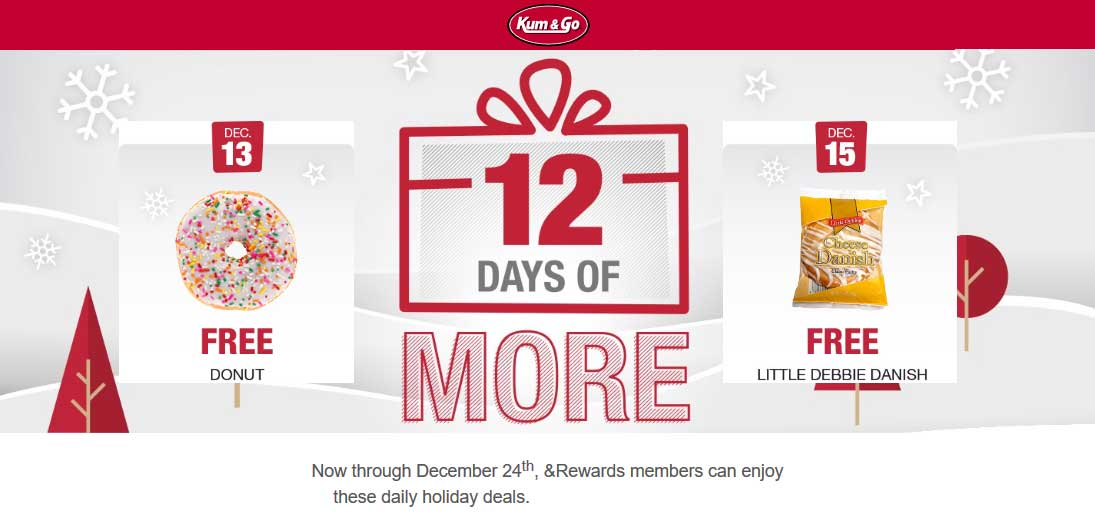 Kum & Go Coupon December 2019 Free donut today at Kum & Go gas stations