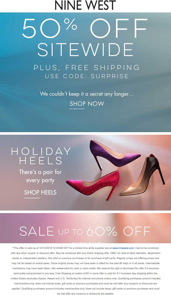 Nine West Coupon December 2019 50% off everything online at Nine West via promo code SURPRISE