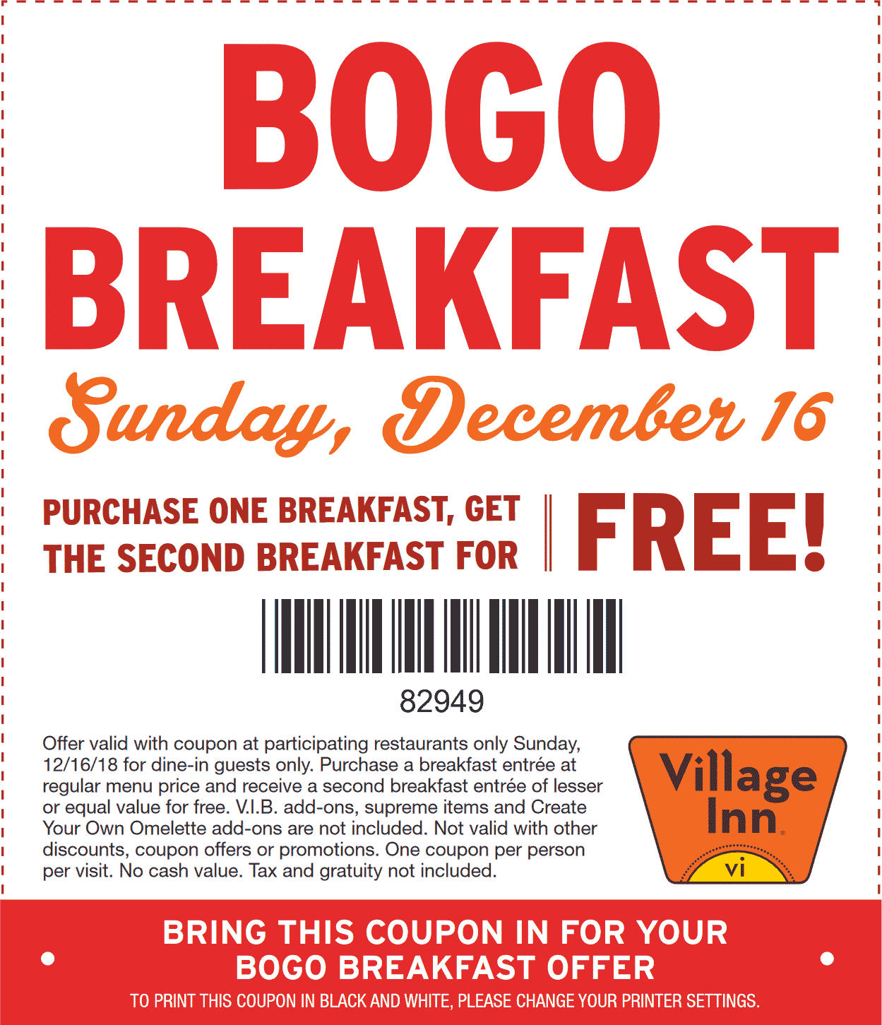 Village Inn Coupon November 2019 Second breakfast free Sunday at Village Inn
