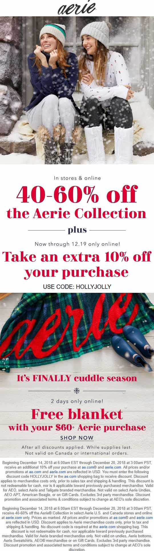 Aerie Coupon December 2019 40-60% off & more at Aerie, or online via promo code HOLLYJOLLY