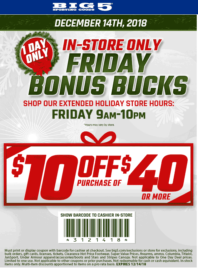 Big 5 Coupon March 2019 $10 off $40 today at Big 5 sporting goods