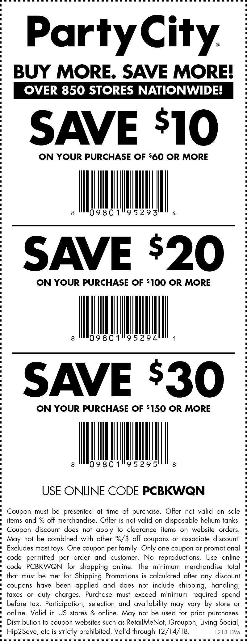 PartyCity.com Promo Coupon $10 off $60 & more today at Party City, or online via promo code PCBKWQN
