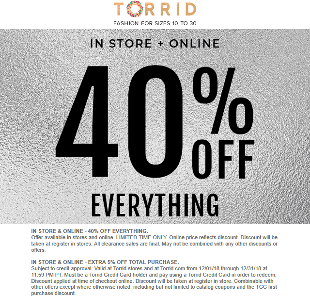Torrid Coupon November 2019 40% off everything at Torrid, ditto online