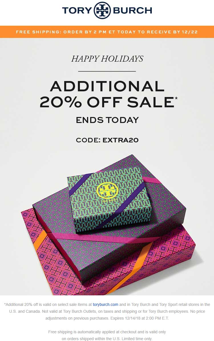 Tory Burch Coupon November 2019 Extra 20% off sale items today til 2p at Tory Burch, or online via promo code EXTRA20
