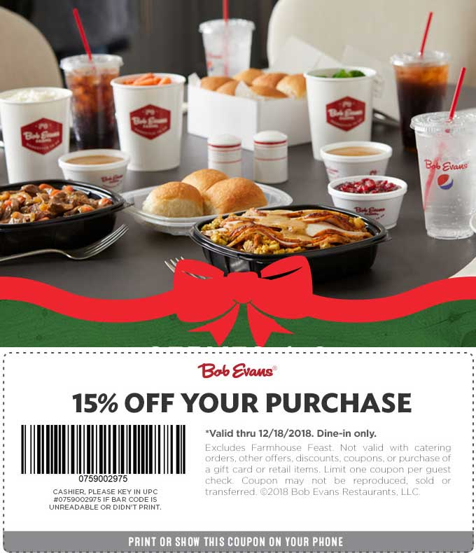 Bob Evans Coupon January 2020 15% off at Bob Evans restaurants