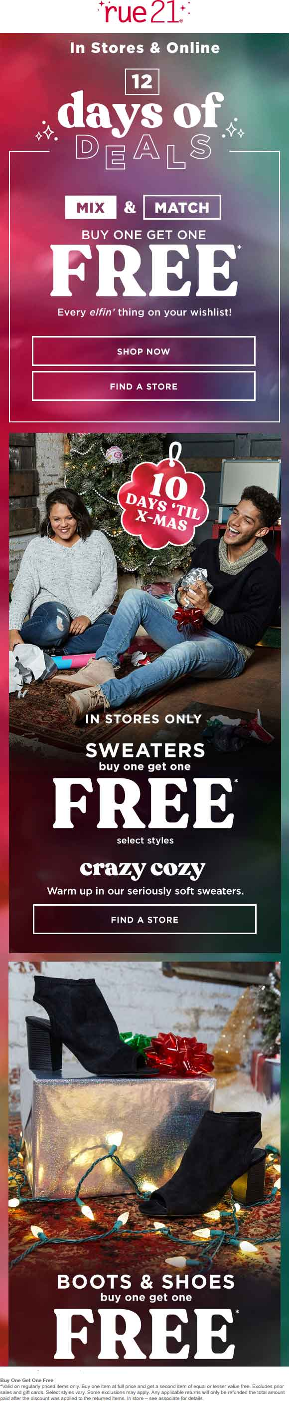 Rue21 Coupon September 2019 Second item free at Rue21, ditto online