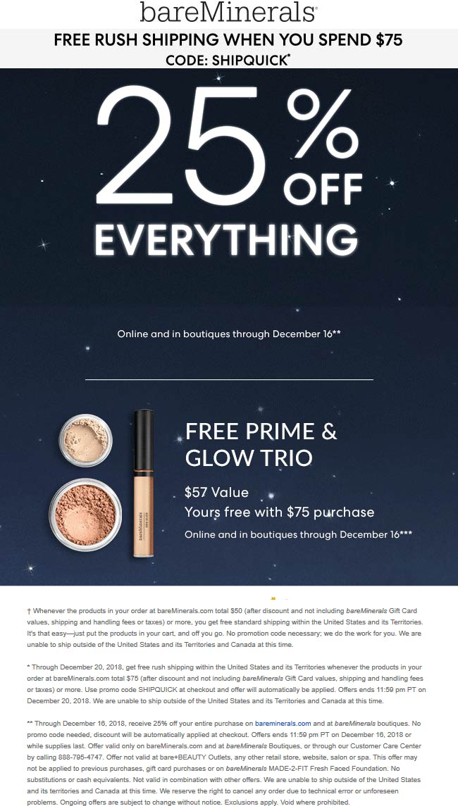 bareMinerals Coupon July 2019 25% off everything today at bareMinerals, ditto online