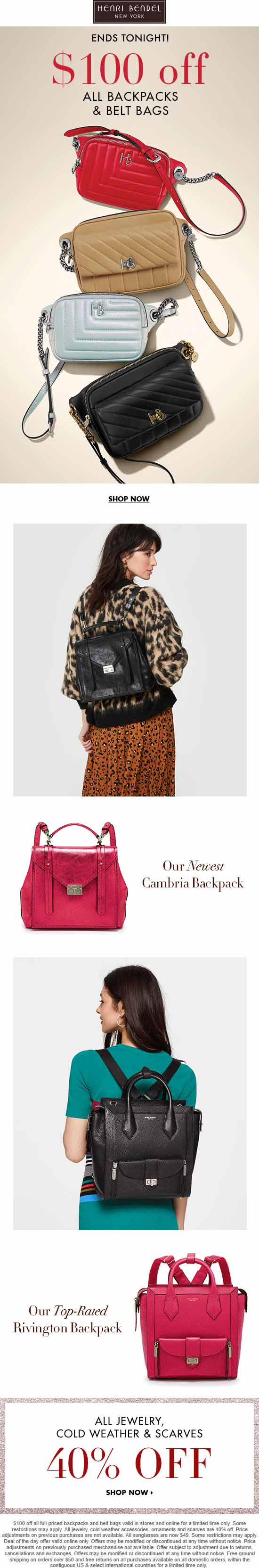 Henri Bendel Coupon December 2019 $100 off backpacks & belt bags today at Henri Bendel, ditto online