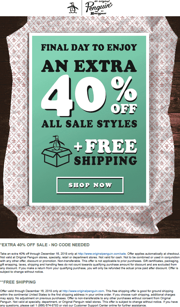 Original Penguin Coupon August 2019 Extra 40% off sale items online today at Original Penguin
