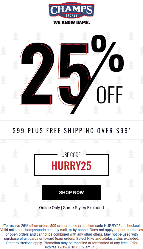 Champs Sports Coupon July 2019 25% off online today at Champs Sports via promo code HURRY25