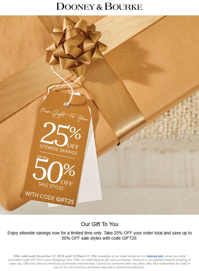 Dooney & Bourke Coupon May 2019 25% off today at Dooney & Bourke, or online via promo code GIFT25