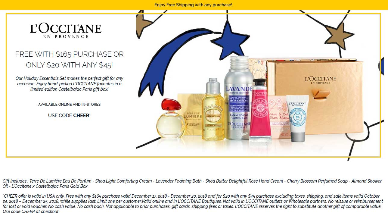 LOccitane Coupon October 2019 Free or $20 for a 7pc set at LOccitane, or online via promo code CHEER