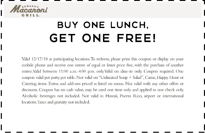 Macaroni Grill Coupon September 2019 Second lunch free today at Macaroni Grill restaurants