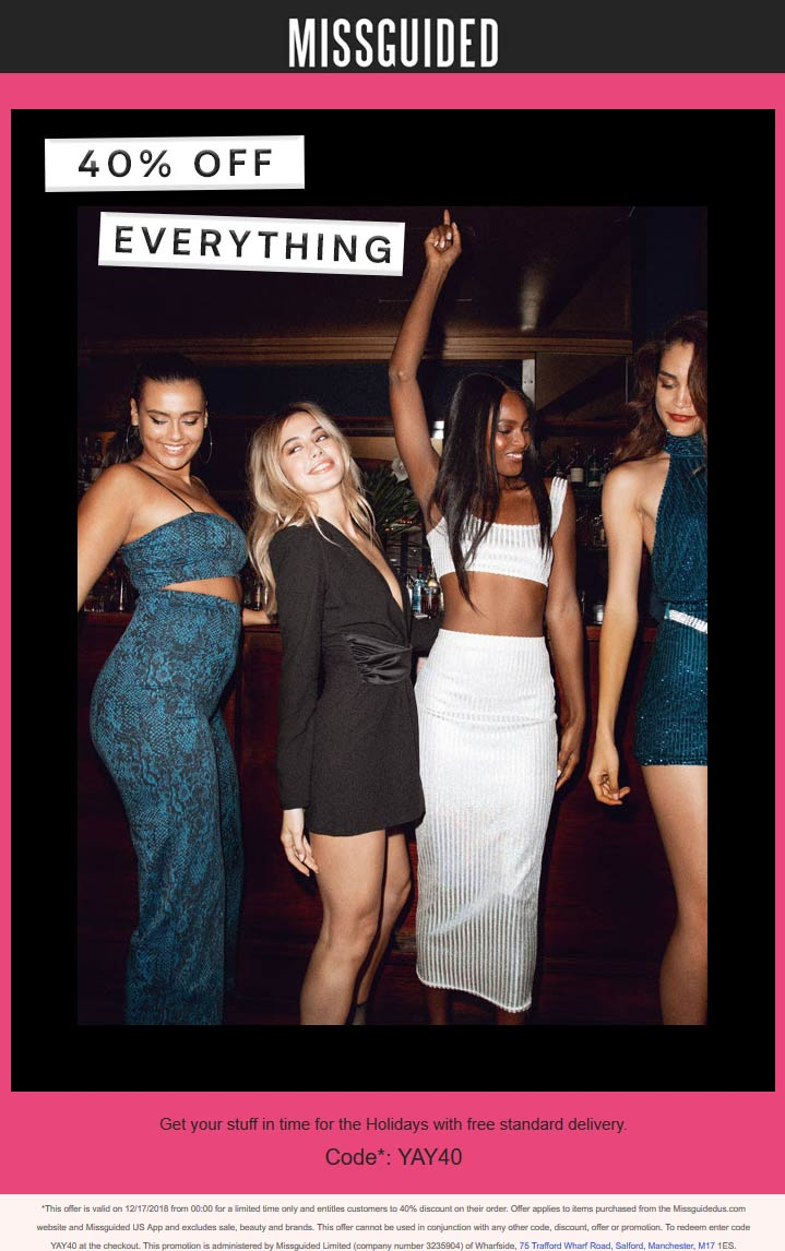 Missguided Coupon November 2019 40% off everything at Missguided via promo code YAY40