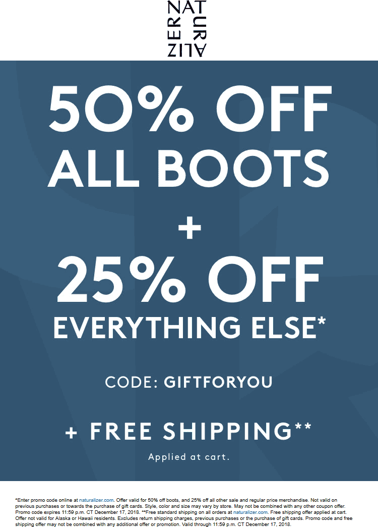 Naturalizer Coupon July 2019 25% off everything + 50% off boots online today at Naturalizer via promo code GIFTFORYOU