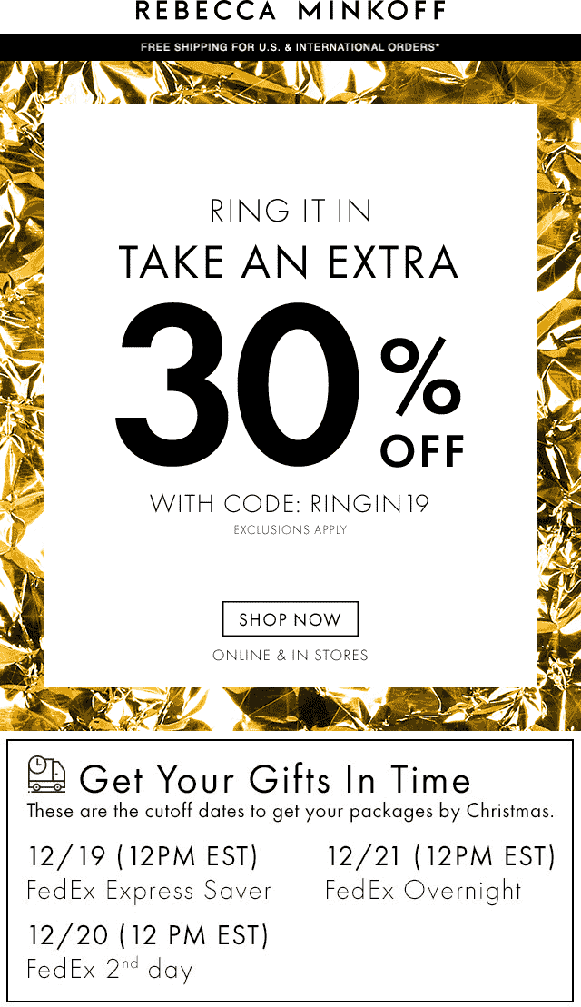 Rebecca Minkoff Coupon July 2019 Extra 30% off at Rebecca Minkoff, or online via promo code RINGIN19