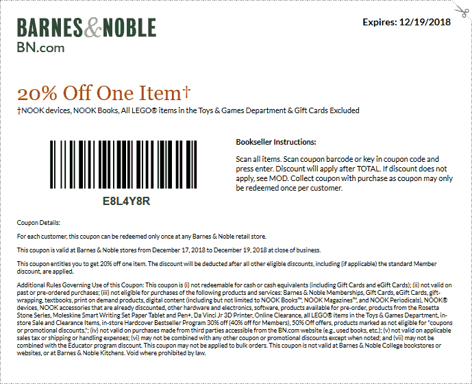 Barnes & Noble Coupon October 2019 20% off a single item at Barnes & Noble, or online via promo code BEMERRY