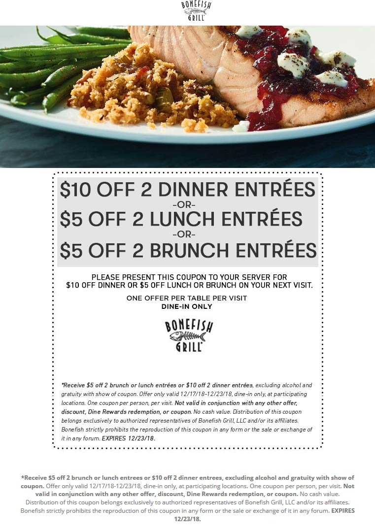 Bonefish Grill Coupon September 2019 $5-$10 off a couple entrees at Bonefish Grill