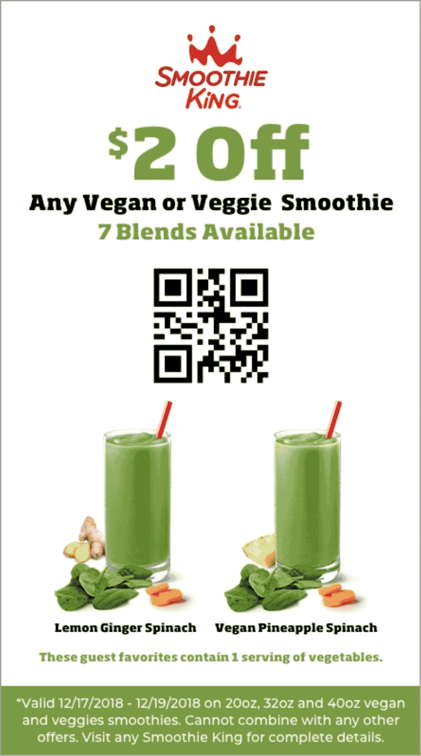Smoothie King Coupon May 2019 $2 off a vegan smoothie at Smoothie King