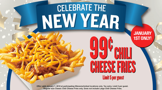 Wienerschnitzel Coupon July 2019 $1 chili cheese fries the 1st at Wienerschnitzel restaurants
