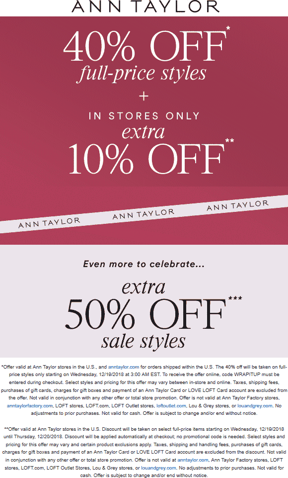 Ann Taylor Coupon October 2019 50% off at Ann Taylor