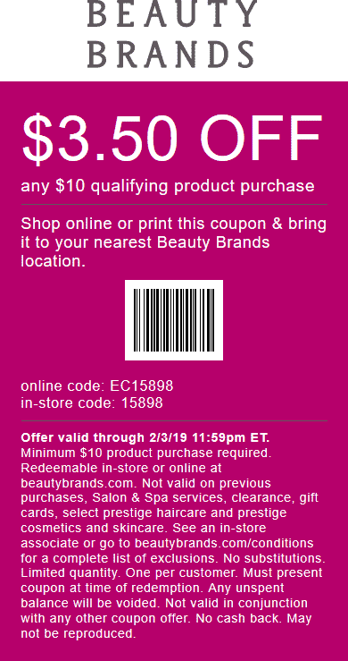 Beauty Brands Coupon September 2019 $3.50 off $10 at Beauty Brands, or online via promo code EC15898
