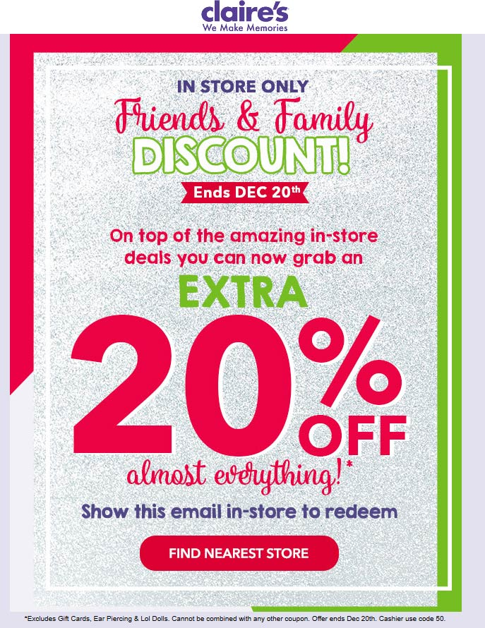 Claires Coupon November 2019 20% off at Claires